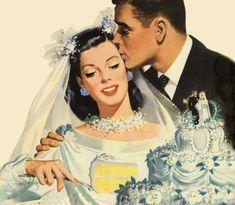 Vintage bride & Groom Cutting The CAKE Illustration. Wedding Art, Wedding Pics, Wedding Bells, Wedding Bride, Dream Wedding, Bride Groom, 1940s Wedding, Vintage Romance, Vintage Love