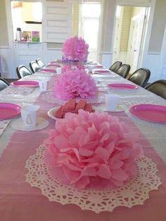 centros de mesa con papel china rosado