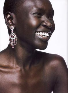 Alek Wek. This Sudanese supermodel has been a show-stopper since her first turn on the catwalk back in 1995, at age 18. With her flawless skin and beatific smile, Wek does her Dinka tribe proud. To read more about how she went from being a Sudanese Refugee to International Supermodel.
