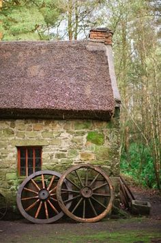 Love this old stone dwelling in the woods. Stone Cottages, Cabins And Cottages, Stone Houses, Country Cottages, Irish Cottage, Cozy Cottage, Cottage Style, Rustic Cottage, Cottage Living