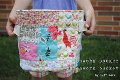 "1/4"" mark: Tutorial: Patchwork Bucket (wonderfully detailed tutorial)"