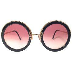 New Vintage Christian Lacroix Round Black Gold Accents 1980 France  Sunglasses c5d07c7a9433