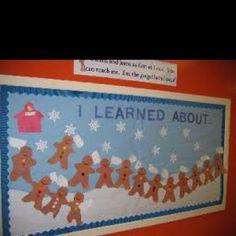Winter bulletin board Talking gingerbread students