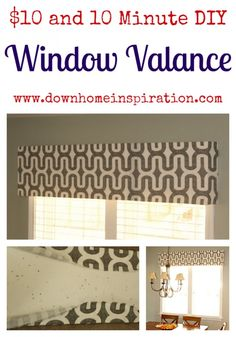 10 Minute DIY Window Valance - Down Home Inspiration Home Projects, Home Crafts, Diy Home Decor, Room Decor, Kitchen Window Valances, Window Valences, Pelmets, Window Cornice Diy, Kitchen Windows