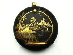 Art Deco Japanese Damascene Gold & Silver Powder Compact !   eBay