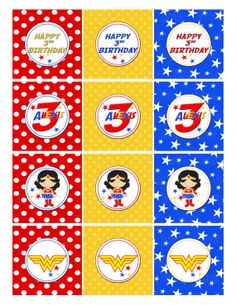 Printable Wonder Woman Cupcake Toppers by PartyInnovations09, $5.00