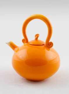 Handmade Pottery Collection Teapot Ceramic Orange with Leaf Handle.