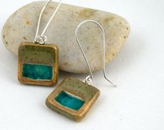 Ceramic Earrings with Recycled  Glass - Tiny Squares in Fossil