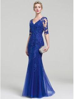 Trumpet/Mermaid V-neck Floor-Length Tulle Lace Evening Dress (017093459)