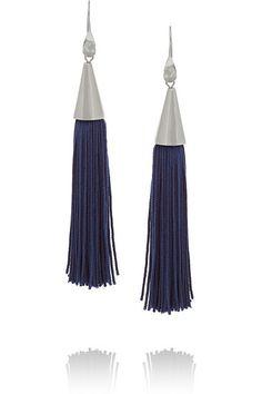 Eddie BorgoRhodium-plated and silk tassel cone earrings