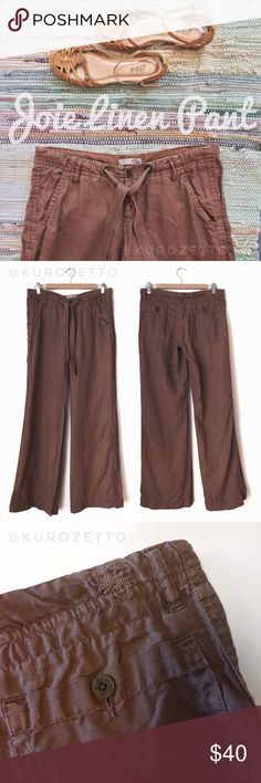 """Wide Leg Linen Pant by Joie A drawstring waistband adds a casual touch to this 'To the Top' wide leg linen pant from Joie. Detailed with 4-pocket styling, belt loops, and a single-button closure with zip fly. No stains or flaws; in very good used condition.  🔸Size: 6  🔸Color: pinecone (brown)  🔸Material: 100% linen  🔸Measurements (approx): Waist 32""""; Front rise 8""""; Back rise 13""""; Inseam 34.5""""; Outseam 41.5""""; Leg opening 12.5"""" across. Joie Pants Wide Leg"""