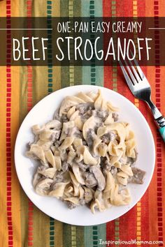 Make this One-Pan Easy Creamy Beef Stroganoff in just 30 minutes! It is an easy weeknight dinner that is sure to satisfy everyone!