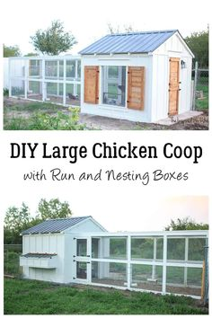 This DIY Chicken coop has all the charm of a farmhouse with all the function of a chicken coop! Free plans to build your own complete with run, nesting boxes, two dutch doors and shutters to keep the rain out! This chicken coop is small enough to be in an urban backyard but large enough to be a coop on a farm as well! Easily houses 20 or more hens! Straight forward plans and added tutorial to walk you through step by step to build the chicken coop of your farmhouse dream via @theinspiredworkshop