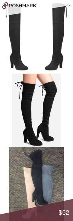 NEW ARRIVAL‼️ Black over the knee boot THEYRE FINALLY HERE  brand new. Boutique brand. Faux suede with tie string in the back for a more custom fit! Available in sizes 5.5-10. Limited quality available  heel is 4 inches. Height is approx 22inches Shoes Over the Knee Boots