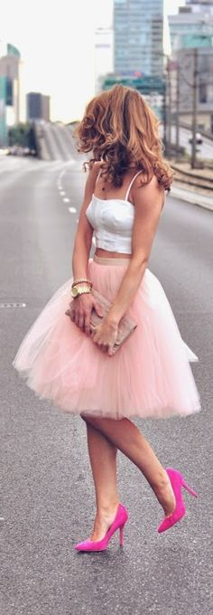 Faux Pink Tulle Skirt with White Top and Bright Pu...