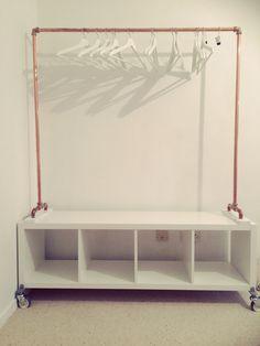 DIY copper hanging rail with ikea KALLAX base