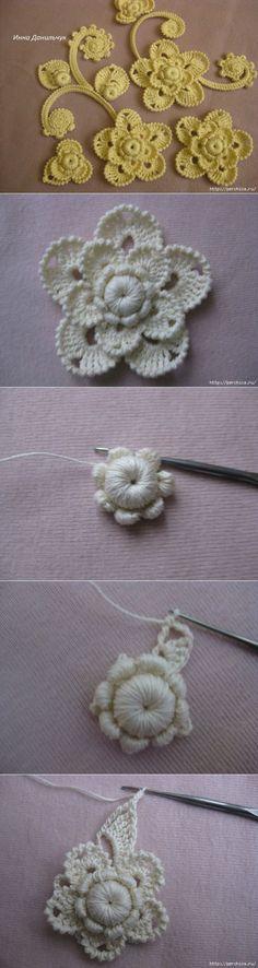 МК цветка в технике ирландского кружева от Инны Данильчук.