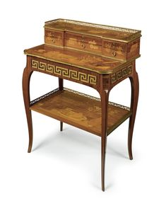 A Louis XV/XVI transitional ormolu-mounted tulipwood, fruitwood and marquetry bonheur du jour circa 1770-75, stamped twice RVLC