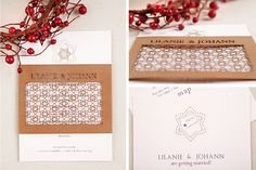 Chrystalace Wedding Stationery Autumn inspired invitation with intricate laser cutting. Autumn Inspiration, Laser Cutting, Wedding Stationery, Invitations, Seasons, Couture, Inspired, Seasons Of The Year, Save The Date Invitations
