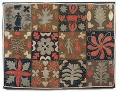 """A 19TH C. FELT APPLIQUED TABLE MAT Sold: $5,192.00 ($4,400) with human and animal figures, hearts, and geometric and floral designs New England, c.1840 26 ¾"""" x 34 ¾"""" Provenance: Austin Miller $2,000 - $3,000"""