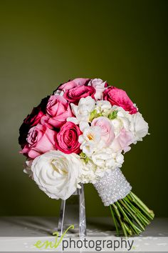 Girly pink and white wedding flowers