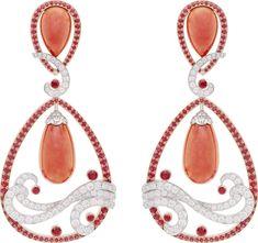 Vagues de Corail Rouge earrings: Coral, rubies, diamonds © Van Cleef…