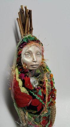 Handcrafter doll, Ancient Goddess Art, Brigid, Spirit Figure, Clay and Lace Decor, fabric sculpture, textile art doll