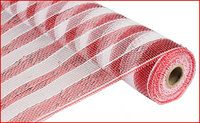 New to CreationsbySaraJane on Etsy: 21 Inches X 10Yd Deco Mesh Roll - Red and White Stripe with Foil - Poly Mesh : RE1016C4 (9.00 USD)