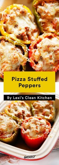 7. Pizza Stuffed Peppers #greatist http://greatist.com/eat/easy-meals-to-freeze-for-later