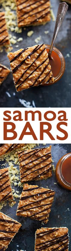 Samoa Bars - buttery shortbread crust topped with a toasted coconut and caramel layer and drizzled with rich chocolate! | Creme de la Crumb