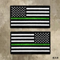 Thin Green Line American Flag Patches for Border Patrol, Game Wardens, Foresters...