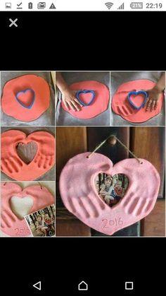 This Salt Dough Hands and Photo Heart Keepsake is Lovely Baby Footprint Art, Photo Cutout, Kids Clay, Thumb Prints, Teacher Inspiration, Handprint Art, Baby Footprints, Baby Keepsake, Photo Heart