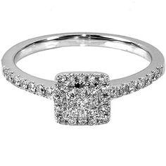 1/3 Carat T.W. Square Diamond 10kt White Gold Engagement Ring