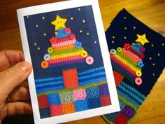 crochet Christmas card from Attic24 ~ a great idea to make your own, personalised crafty cards!