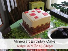 This Cake Block Minecraft Birthday Cake is so easy to make. Save a TON of money by making your own Minecraft Birthday Cake. (diy birthday cake how to make) Minecraft 9, Minecraft Party Food, Minecraft Cupcakes, Easy Minecraft Cake, Minecraft Birthday Cake, Diy Birthday Cake, 8th Birthday, Birthday Ideas, Minecraft Crafts
