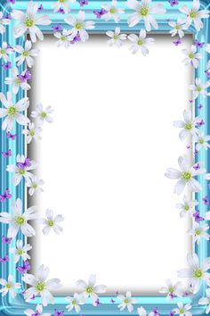 Transparent Bue PNG Frame with Flowers and Butterflies