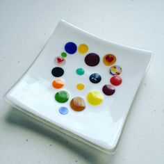 Fused glass - random colour heart dish