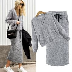Echoine Two-Piece Set Women Cashmere Hoodie Tops Pockets Gray Casual Calf-Length Skirt Lace Up Maxi Dress Suit Female Outwear Price: Suit Fashion, Fashion Outfits, Fashion Black, Fashion Clothes, 2 Piece Skirt Set, Cashmere Hoodie, Cashmere Suit, Matching Sweaters, Womens Dress Suits