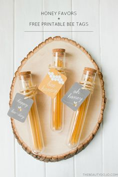 Make these bee...autiful test tube honey favors to give away at birthday parties, showers and weddings. Free printable included in post!