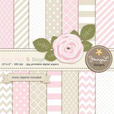 Baby Pink and Beige Digital Paper,  Light Pink Rose Flower Clipart for Wedding, Bridal Baby Shower, Birthday, Digital Scrapbooking, Invites