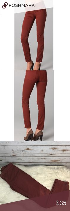 """J Brand Mid Rise Skinny Leg Jeans Merlot This is a size 27 pair of J Brand Jeans. These jeans are a mid rise with a skinny leg. They have a 9"""" rise and a 29"""" inseam. The jeans are in excellent used condition. Thanks! J Brand Jeans Skinny"""