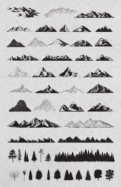 Hand drawn mountains and trees # vector # part # delivered # files . - Hand drawn mountains and trees # vector # part # delivered # files - Drawing Hands, Drawing Tips, Drawings On Hands, Drawing Drawing, Montain Tattoo, Tattoo Drawings, Art Drawings, Tattoos To Draw, Tattoo Art