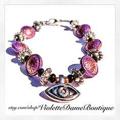 FREE SHIPPING Purple Evil Eye Bracelet by VioletteDameBoutique