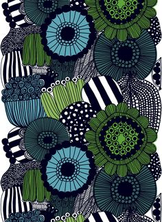 Many of Maija Louekari´s exuberant prints are inspired by childhood stories. Their vivid, unique colour scales are typical to Marimekko. Striking Siirtolapuutarha depicts the saturated abundance of an urban cottage garden.In heavyweight cott