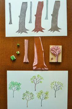 a Stamp a Day: trying out some trees