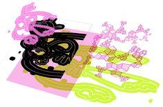 Projet Tek d'ADN - La toile devient mur digital : L'animation est constituée de boucles animées qui se superposent comme des calques et utilisées comme des samples, projetées et orchestrées par des variables cycliques et aléatoires, ou guidées à l'aide d'un écran tactile, ou via des capteurs de mouvements interactifs. Chaque membre du public devient VJ, il crée son propre montage diffusé en temps réel.  Chaque séquence (boucles animées, saynètes), est synchronisée à un univers sonore.