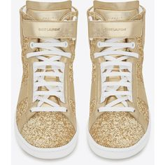 Saint Laurent Signature Court Classic Sl/14h High Top Sneaker In Gold Glitter Fabric And Metallic Leather and other apparel, accessories and trends. Browse and...