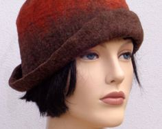 Assymetrical retro hat, brown felt cloche, 1920s inspired hat, art deco fashion, 20s accessory, winter hat