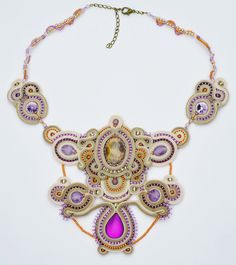 Wisteria Necklace - Techniques: soutache embroidery. Materials: soutache, seed beads 6/0, 8/0, 11/0 and 15/0; Swarovski rivoli crystals, rhinestones, acryl, sunstone, amethyst cabochons, tourmaline beads