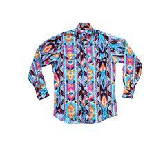 Abstract Tribal Print Colorful Shirt Southwester by KatrajinaCo